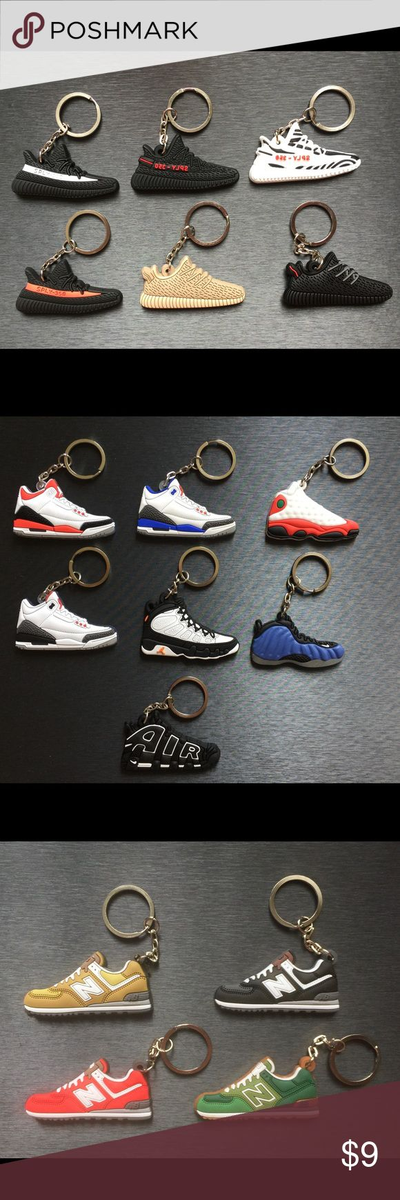 Sneaker Keychains *ANY 4 OF YOUR CHOICE** All your favorite most hyped sneakers are now available in keychains !! These keychains make the perfect novelty gift for any occasion. Silicone 2D flat keychain/ YEEZY Adidas Air Jordan Nike Supreme/ bundle pricing available upon request- Serious offers only Please&Thank You 😊 FREE surprise Sneaker sticker with purchase. adidas Accessories Key & Card Holders