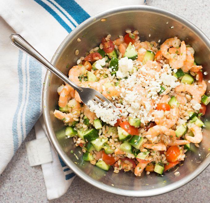 Greek Shrimp Farro Bowls