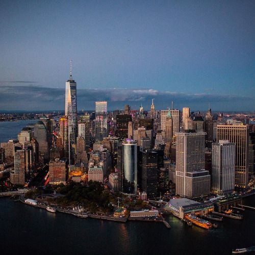 Lower Manhattan at dusk by @roon @flynyon @nyonair #nyc