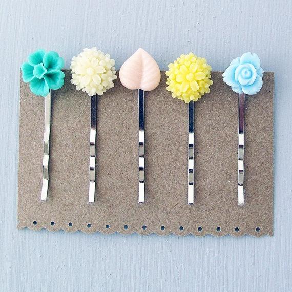 Flower Bobby Pin Set of Five Pastel Garden by jFrancesDesign