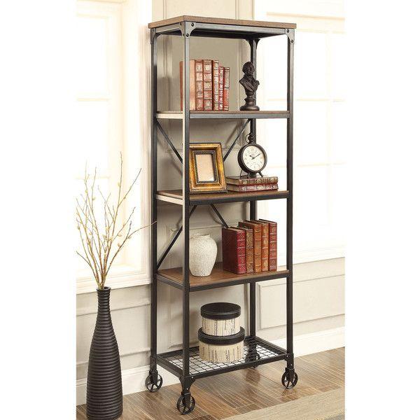 Furniture of America Daimon I Industrial Medium Oak 5-tier Bookshelf... ($329) ❤ liked on Polyvore featuring home, furniture, storage & shelves, bookcases, black, book shelf, industrial shelving, black tv stand, 5 shelf bookcase and 5 shelf book case