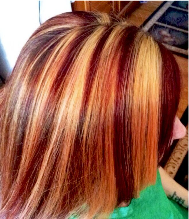 Magenta Blonde Amp Caramel Highlights Chunky Highlights