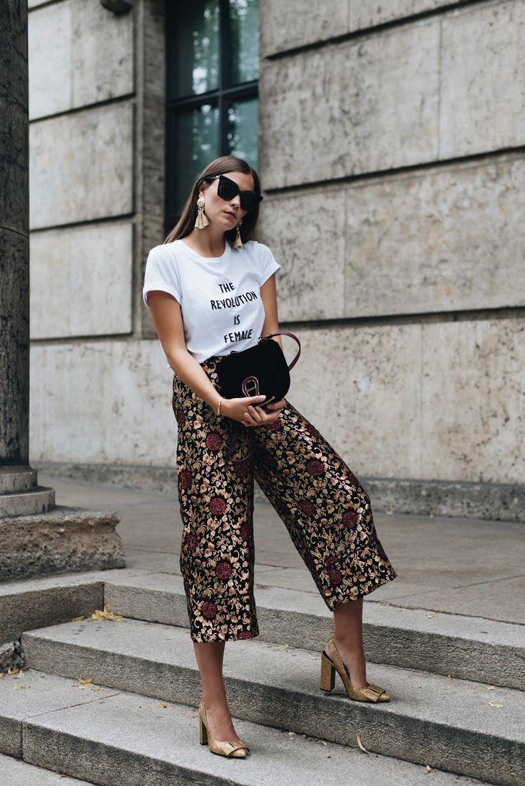 Outfit + Video: Statement Shirt, MCM Sonnenbrille, Tassel Ohrringe & Aigner Pina Samt Tasche