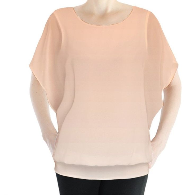 Orange Ombre Batwing Chiffon Top
