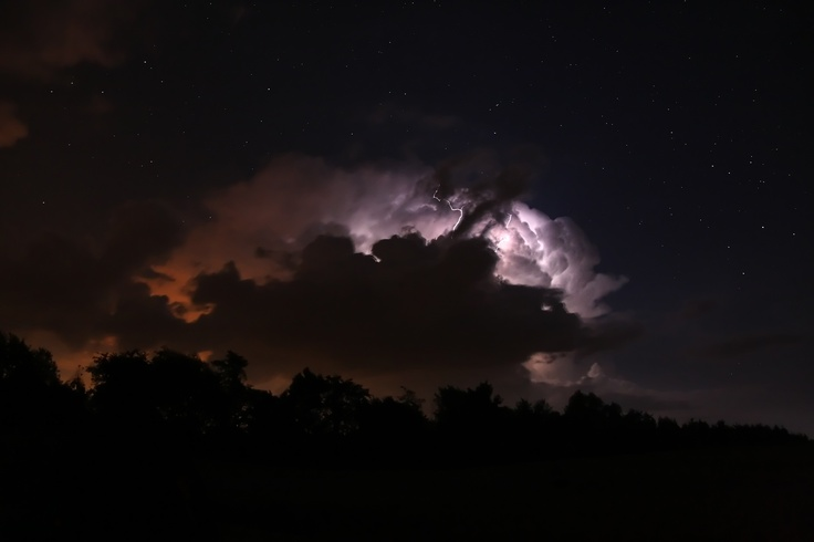 Thunder storm cloud and stars. Taken from the KW RASC dark site near Listowel, Ontario. Featured on The Weather Network.
