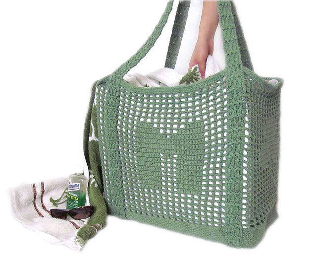 Crochet Tote Bag Pattern : Ravelry: Crochet Tote Pattern - Initial Filet Crochet Bag pattern by ...