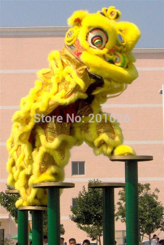 hoge kwaliteit pur leeuwendans kostuum gemaakt van zuivere wol zuidelijke leeuw kostuum volwassen grootte chinese folk