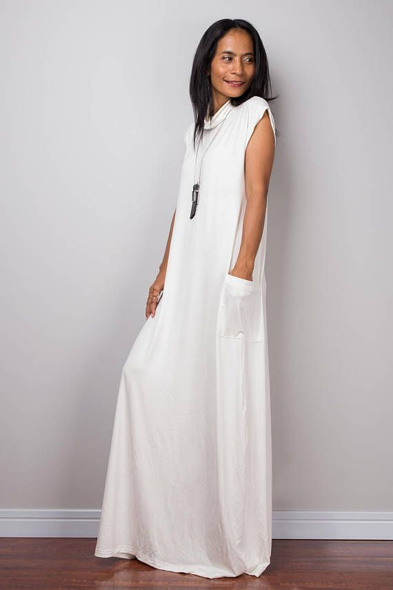 Best Seller!! I gave this gorgeous long off white dress a turtleneck and a long loose beautiful skirt, which wonderfully skims your body and results in a very soft and romantic looking gown.  I also added short cap sleeves and two pockets to this design. A separate belt is included.  This