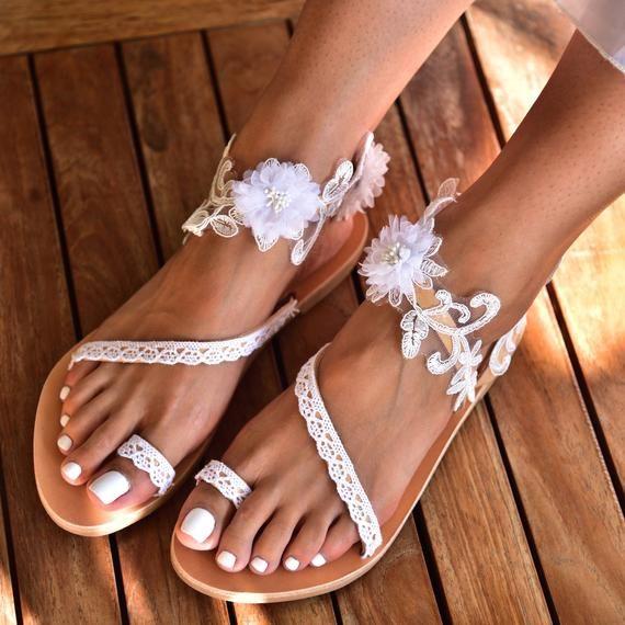 Wedding Sandals Wedding Shoes For Bride Bridal Sandals Lace Toe Ring Sandals Bridal Sandals Bridal Shoes White Evriti Beach Wedding Shoes Wedding Sandals For Bride Wedding Sandals