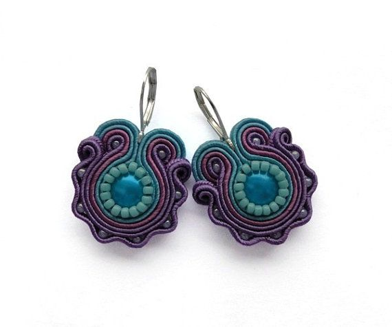 Floral earrings flower flowers spring turquoise purple violet hand embroidered earrings soutache earrings