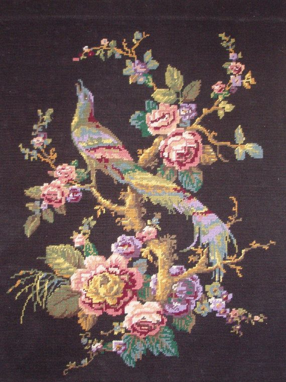 Bird of Paradise - Nightingale and Rose - Vintage French needlepoint tapestry canvas