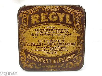 Antique Medical Tin Box Stomach Pills, Victorian Tin Box,French Pharmacist Paris