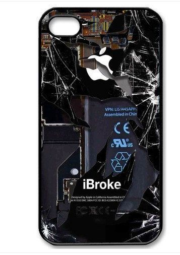Broke Apple iPhone Funny Gag On iPhone 4 Case, iPhone 4s Case, iPhone 4 Hard Case, iPhone Case-graphic Iphone case  hahaha.  The sad thing is, I've seen dunc's phone in this actual condition! :)