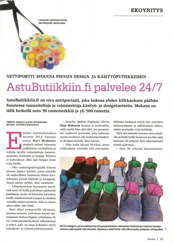 AstuButiikkiin.fi Ekoelo-lehdessä 02/2014. Kuvassa Lempiväri ja INTOA design.