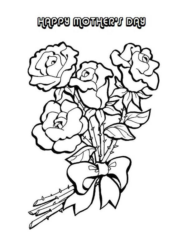Mother S Day Flowers Vase With Three Flowers Flower Drawing