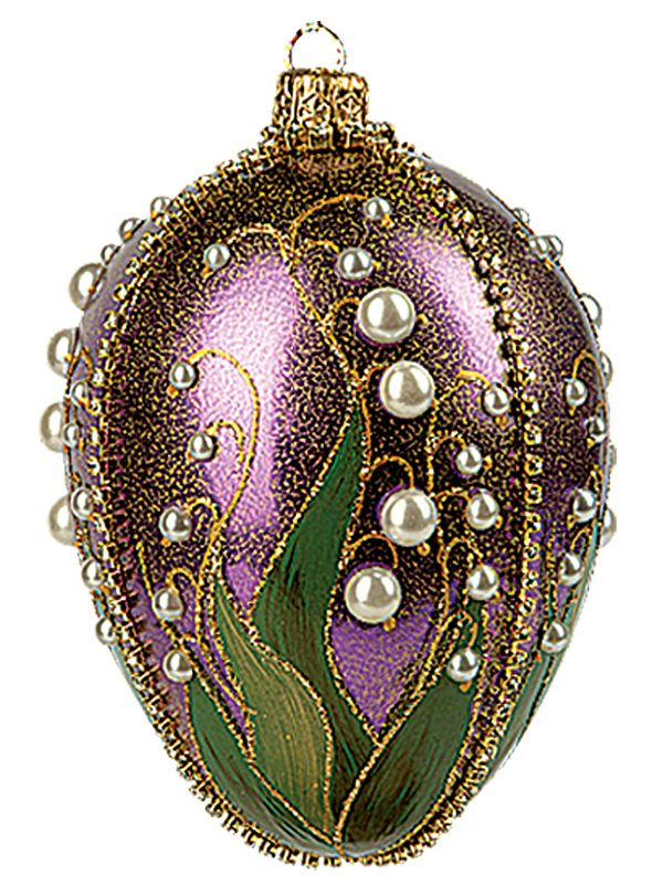 Traditional Glass Christmas Tree Ornaments : Faberge inspired purple lilies of the valley egg polish