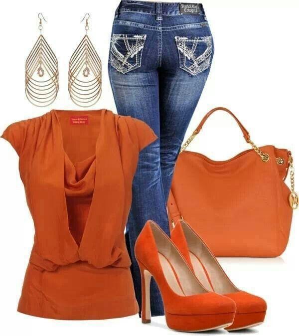 Orange with jeans