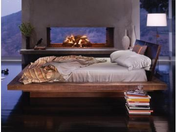 amazing platform bed, and love the bookstacks as nightstand