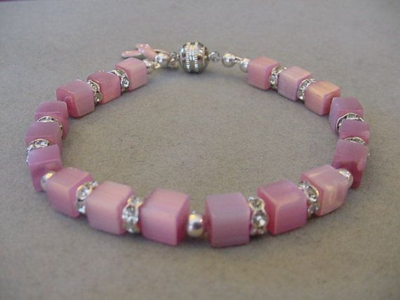 BREAST CANCER AWARENESS Bracelet Pink Cats Eye by Magicclosetbling