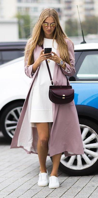 Blush tones + a burgundy Chloé bag