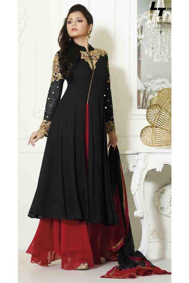 Modish Black Georgette Palazzo Salwar Kameez Suit