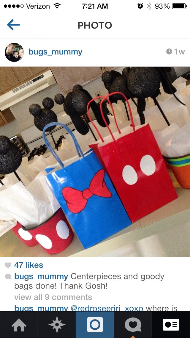 Mickey Mouse and Donald Duck goody bags. Mickey Mouse and Goofy centerpieces all made from things at the Dollar Store and Joann's!