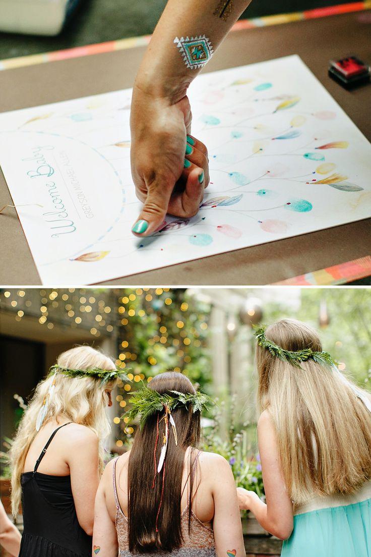 Thumbprint art dreamcatcher- lovely and original idea from: http://blog.hwtm.com/2015/09/tribal-dreamcatcher-baby-shower/