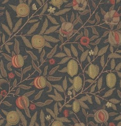 Fruit (210397) - Morris Wallpapers - A contemporary reworking of this beautiful classic Morris design, with metallic ink effects. An all over pattern of fruit and flowers in naturalistic colours against a dark background. Please request sample for true colour match.