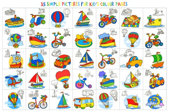35 pictures for kids' color pages by Ann-zabella on @creativemarket