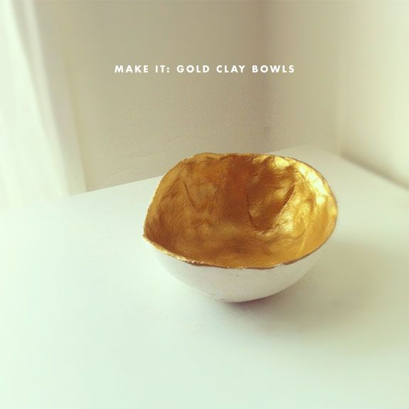 gold-dipped clay bowls - making this for anniversary dinner!