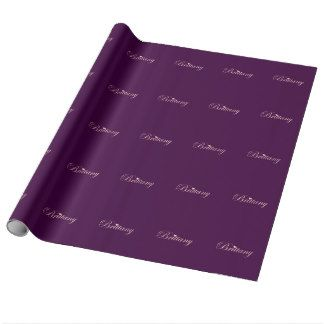 Brittany with a Heart Wrapping Paper. Pink and purple gift wrap for Brittany! $21.95