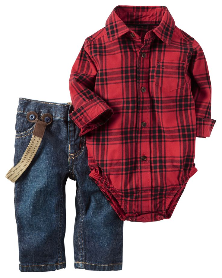 Featuring a soft flannel bodysuit and easy-on denim pants he's set for the pumpkin patch. Attached suspenders complete this picture perfect look!