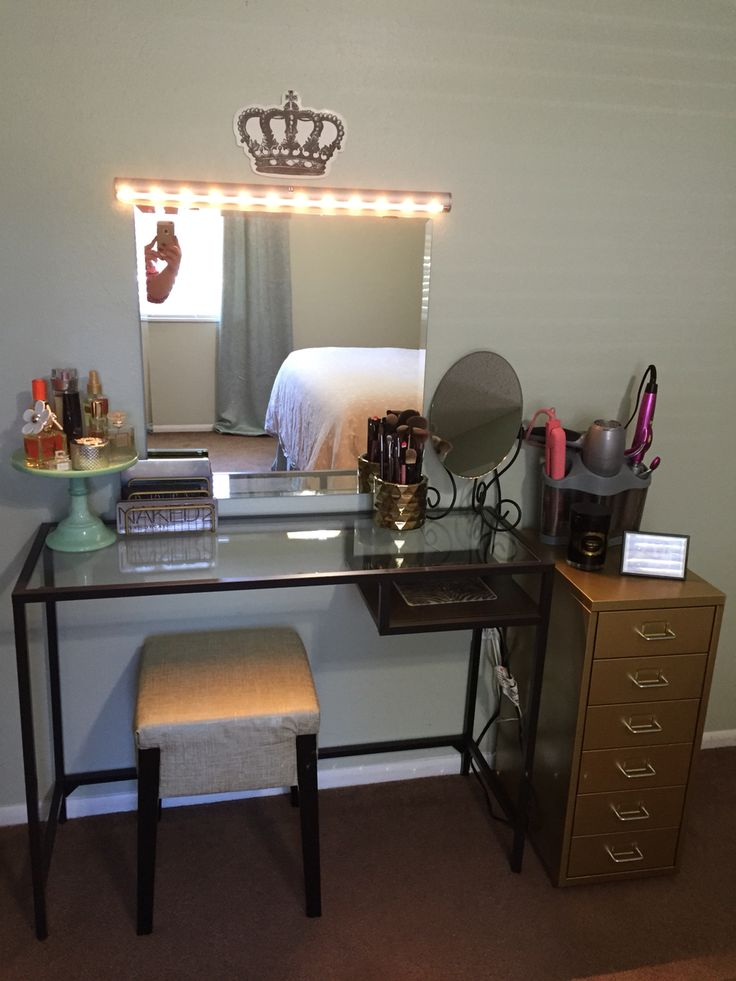 Diy Vanity Made From Ikea Products Vittsjo Laptop Table Helmer Drawer Unit Nils Stool Kolja