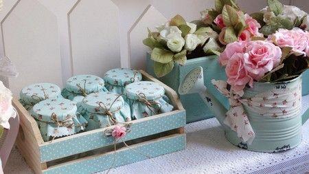 Caixote com Potes decorado Shabby Chic