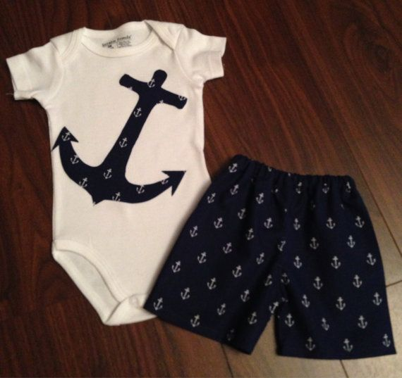 Boys Anchor Outfit Shorts with matching Anchor Bodysuit or T-Shirt