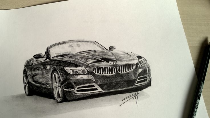 Love your car? Get a drawing of your very own car like this. Find more custom car drawings on etsy.com/shop/SidewalkManhattan #drawing #blackandwhite #car #bmw #art #sketch #graphite #pencil #etsy
