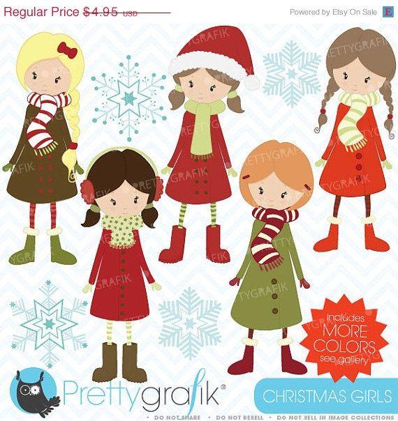 60 OFF SALE winter christmas girls clipart by Prettygrafikdesign, $1.98