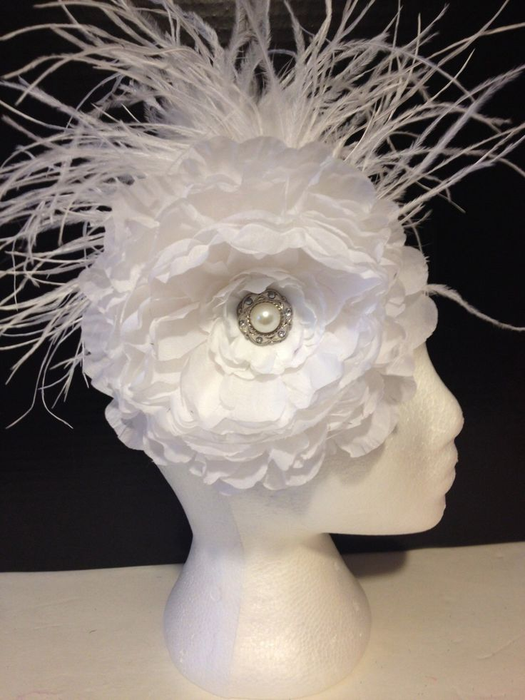 Bridal Flower Headband from my Etsy shop https://www.etsy.com/listing/185113049/bridal-white-flower-feather-fascinator
