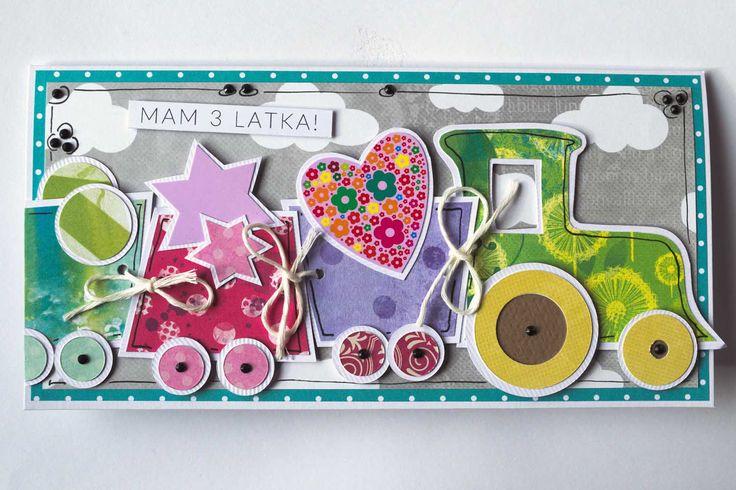 Kartka dla dziewczynki, która skończyła 3 latka i uwielbia pociągi, te bajkowe i te prawdziwe też #kartka #papercard #papercrafts #craft #handmadecard #handmade #scrapbooking #scrapbookingcards #rekodzielo #ciufcia %pociąg