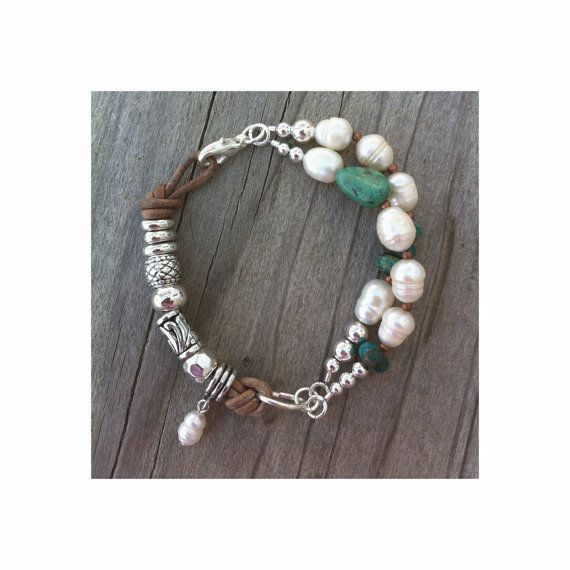 Freshwater Pearl Turquoise Silver Bracelet Leather Southwest Native American Boho Chunky Statement Jewelry 2014 Trends Gift Made to Order