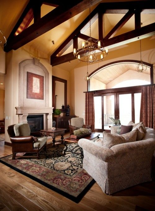 Show Living Rooms Already Decorated: A Gorgeous #fireplace Mantel That Shows Off High Ceilings