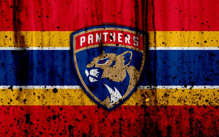 Download wallpapers 4k, Florida Panthers, grunge, NHL, hockey, art, Eastern Conference, USA, logo, stone texture, Atlantic Division