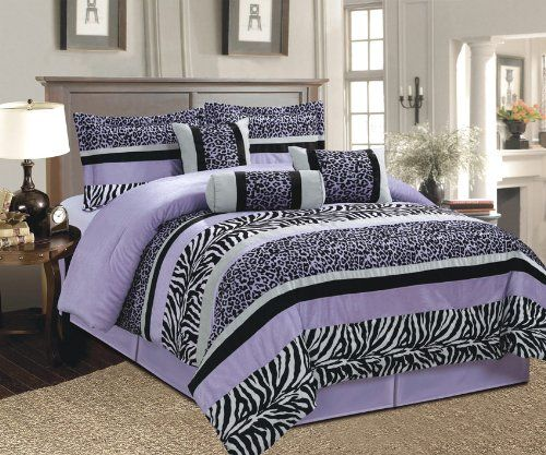 7 Pc Whisper Purple Black White Zebra Leopard Micro Fur