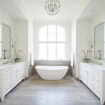 white and taupe bathroom with limestone chenille white