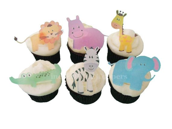 CUPCAKE TOPPERS - Edible Zoo Animals - 12 Cake Toppers, Birthday Cake, Kids Cakes, Baby Shower on Etsy, $9.80