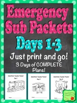 Substitute plans can keep you up all night when you are sick. With this set in your sub tub, substitute teachers are going to love filling in for you this year. Whether it is an emergency or not you will be prepared.  This file contains 3 complete days of sub plan packets appropriate for a first or second grade classroom.