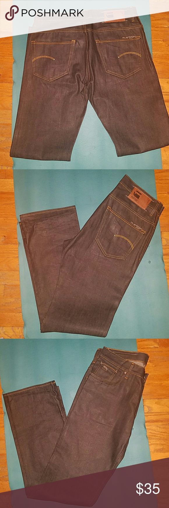 Men Blue G-Star Raw Jeans size 34/36 These are practically brand new worn once men G-Star Raw Jeans size 34/36 style  3301 loose fit jeans. G-Star Jeans Straight
