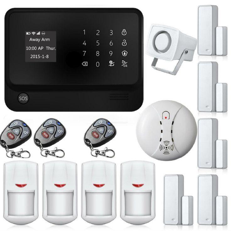 Free Ship Wireless Wifi GSM Home Security Alarm Touch Screen Burglar Security Alarm Smoke Detector Alarmas Para Casa Sin Cables
