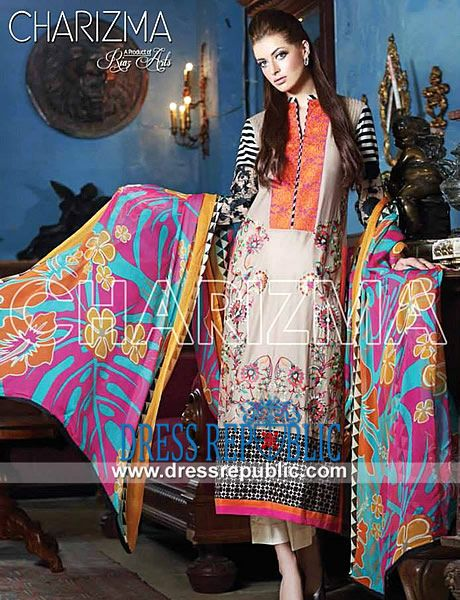 Charizma Summer Designer Lawn Suits 2014 by Riaz Arts  Vol 2 of Charizma Riaz Arts Designer Lawn Suits 2014 in Bradford, Bolton and Kirklees, UK. Complete Sets at Wholesale Prices also Available! by www.dressrepublic.com