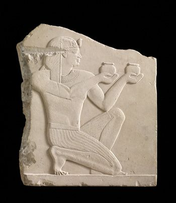 Plaque depicting a king offering wine 305-30 B.C.E.   Possibly Ptolemaic Dynasty, Egypt